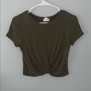 Olive green cropped to! In good condition!